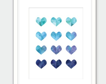 Blue Watercolor Jewel Heart Gems. Printable Art. Watercolor Crystal Print.