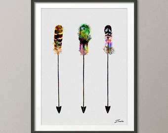 Arrow poster, arrow print, arrow painting, arrow art, arrow watercolor art, arrow decor, arrow wall hanging, watercolor painting -A115
