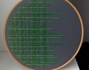 Modern woven effect embroidered hoop art