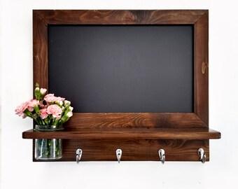 Kitchen chalkboard organizer in walnut stain