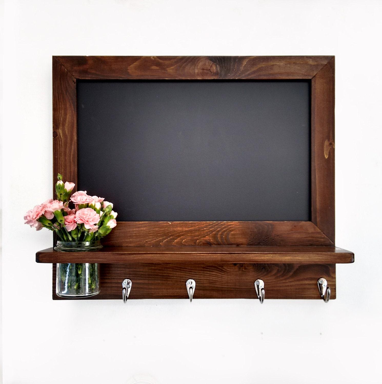 Kitchen Chalkboard: Kitchen Chalkboard Organizer In Walnut Stain