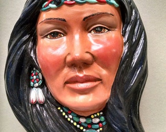 SALEIndian Woman Mask--Native American Indian Figurine--Heirloom Quality--Hand-painted Ceramic--Home Decor--Native American Art