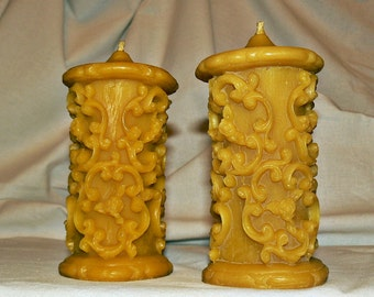 2 Natural Handmade 100% Beeswax Candles Decorative candles