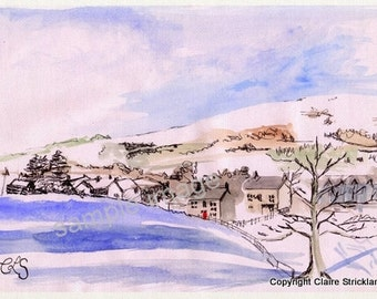 Sedbergh in the Snow, The Lake District, Cumbria. - Giclee Print of Original Watercolour and Pen Drawing by English Artist Claire Strickland