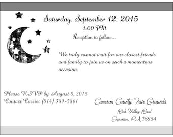 100 Invitations- I Love You to the Moon & Back Black Wedding