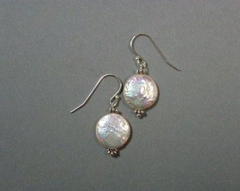 Round mother-of-Pearl on 925 Sterling Silver earrings made in France FRENCHMADE