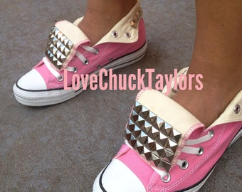 Pink Studded Converse Chuck Taylor Shoes