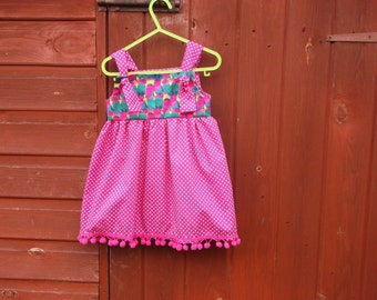 Girls' clothing, girls' sun top with gorgeous love birds and pompoms