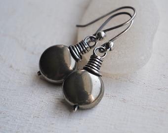 Pyrite Earrings, Oxidized Silver Pyrite Earrings, Sterling Silver Pyrite Coin Earrings, Rustic Pyrite Dangle Earrings