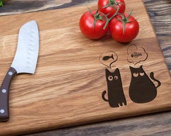 Wood Cutting Board, Personalized, Custom Cutting Board, Cutting Board, Wedding Gift, Housewarming Gift, Anniversary Gift, Cats Cutting Board