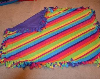 Rainbow Striped No-Sew Fleece Blanket