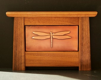 Arts and Crafts Mission Style Copper Tile Framed in Solid Black Walnut (Dragonfly WDF3) Shelf Decor, Bookcase Decor