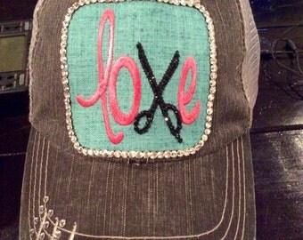 CUSTOM HAT LOVE w/Scissors Bling Baseball Hat