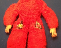 Vintage Rare Red 1950's Rushton? Rubber Face Sleeping Girl Bed Buddy.