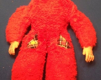 Vintage Very Rare Red 1950's Rushton? Rubber Face Sleeping Girl Bed Buddy.
