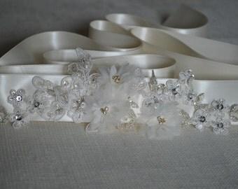 Elegant and romantic handmade bridal sash