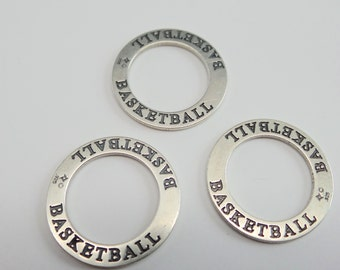 """solid 925 sterling silver affirmation circle charm pendant. """"BASKETBALL"""" . Shiny silver. 22 mm. Wholesale. CP22"""