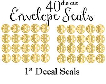40 Monogram Envelope Seals - You pick your color