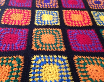Blanket/Afghan/Bed Spread Crocheted , a perfect gift for Mom, Grandma, Birthday, Anniversary, Housewarming, Dorm Room, Granny Squares