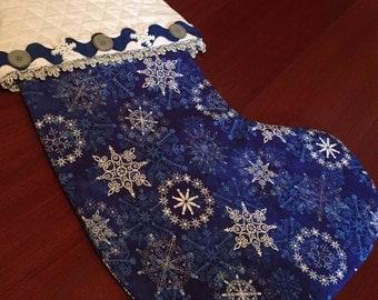 Blue & Silver Snowflake Stocking