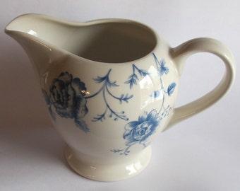 Vintage Blue and White Churchill Creamer Floral design