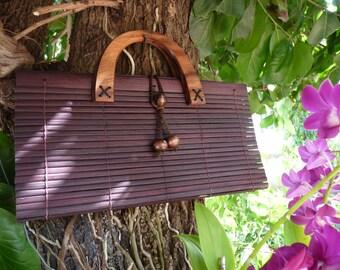 Clutch Bag Purse Hand Bag Natural Fair Trade Handmade Bamboo Thai Asian Elephant Button Cute Girls Coconut mango