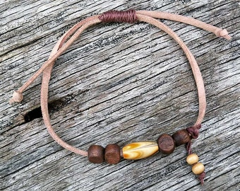 Tan Leather and Wood Bead Bracelet, Leather Bracelet, Tan Leather Bracelet, Faux Leather Bracelet, Leather