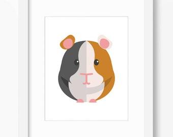 Guinea Pig Print, Guinea Pig Art, Nursery Art, Nursery Print, Nursery Guinea Pig, Guinea Pig, Kids Guinea Pig Art, Kids Guinea Pig