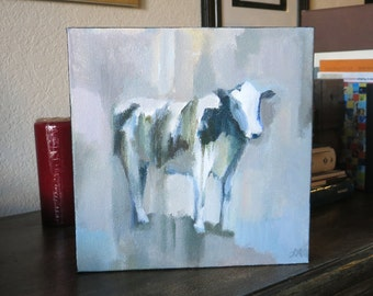 "Cow Painting Original Acrylic on Canvas 10""x10"""