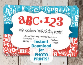 ABC Invitation for Shower & 1st / First Birthday - Alphabet / Letters Theme - Instant digital download - Photo prints or card stock - Cute