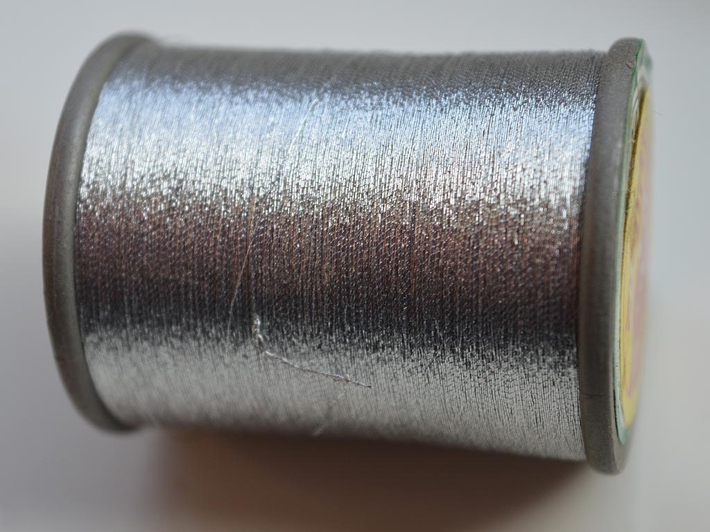 Metallic silver embroidery thread hand and machine