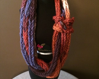 Multicolored Finger Knitted Cord with Embellishments  (short) #adornments