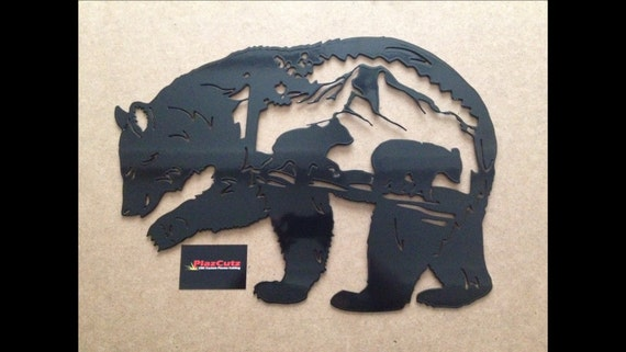 Bear Scene Metal Wall Art Plaque Cnc Plasma Cut And Powder