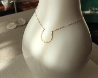 14k Solid Gold Horseshoe Necklace minimal birthday gifts for her bridesmaid lucky christmas mother's day