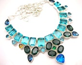Awesome Multi Color Swiss Blue Topaz,Tanzanite,Peridot,Kyanite,Handmade 925 Silver Necklace 18 Fashion Jewelry Heavy Designer Necklace
