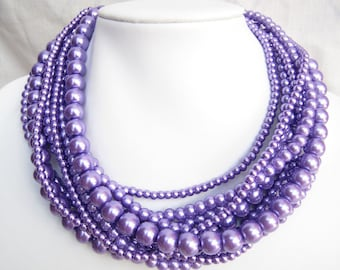 Violet Necklace,Purple Necklace,Multi Strand Necklace,Pearl Necklace,Bridesmaid Gifts,Bead Necklaces,Wedding Gift Ideas,Choker Necklace,Gift