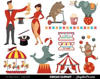 Circus clipart - circus clip art, lion, elephants, clowns, lion tamer, seal, balls, circus digital INSTANT DOWNLOAD