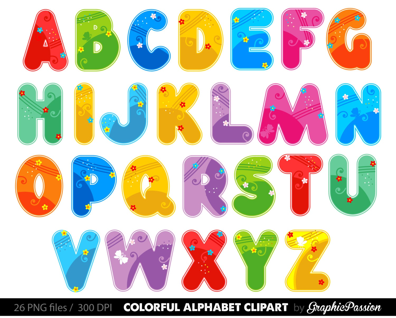 Alphabet Clipart Color Alphabet Digital Alphabet Letters Color