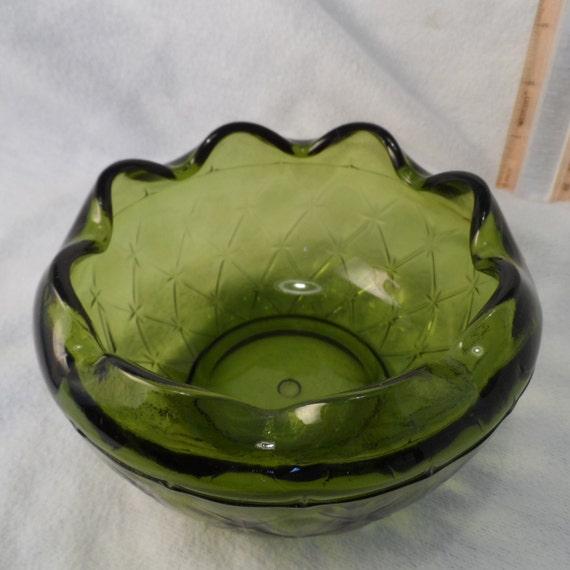 Green Glass Bowl-Indiana Glass Green Ruffled Bowl