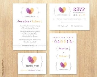 Wedding Invitation Set, Fingerprints Purple and Orange Invitation, invite, RSVP, Save The Date, Thank You Card, Printable DIY Wedding Invite