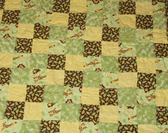 Hand Made Patchwork Fuzzy Flannel Baby Quilt, yellow, green, brown quilts