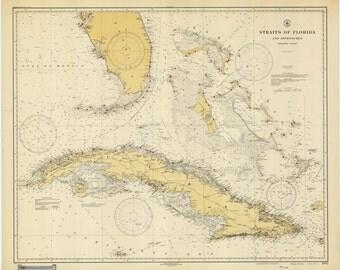 Straights of Florida & Cuba Historical Map 1928