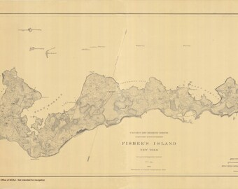Fishers Island Historical Map 1882