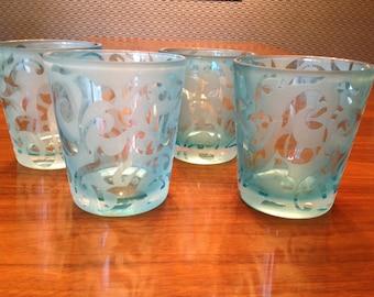 Set of 4 blue etched glasses