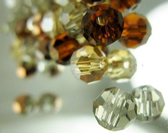 Beads/Celestial/Crystal/Glass/32-Facet/Fall Colors/6mm/Large Hole/Faceted/Round/10 Beads Per Order