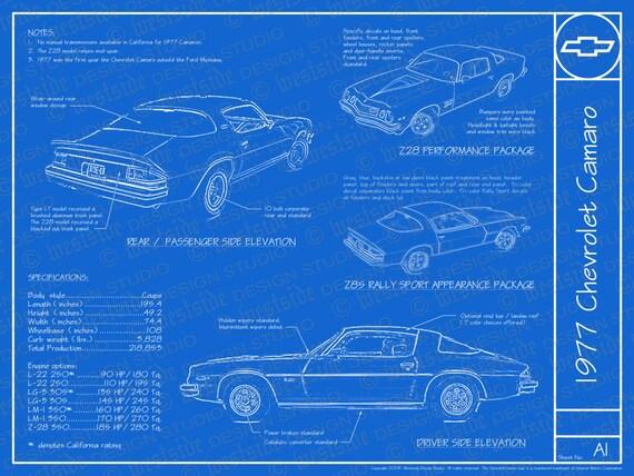 "1977 Chevrolet Camaro blueprint poster 18""x24"" (JPEG image file)"