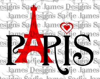 Paris Eiffel Tower Love SVG and Silhouette Studio cutting file, Instant Download