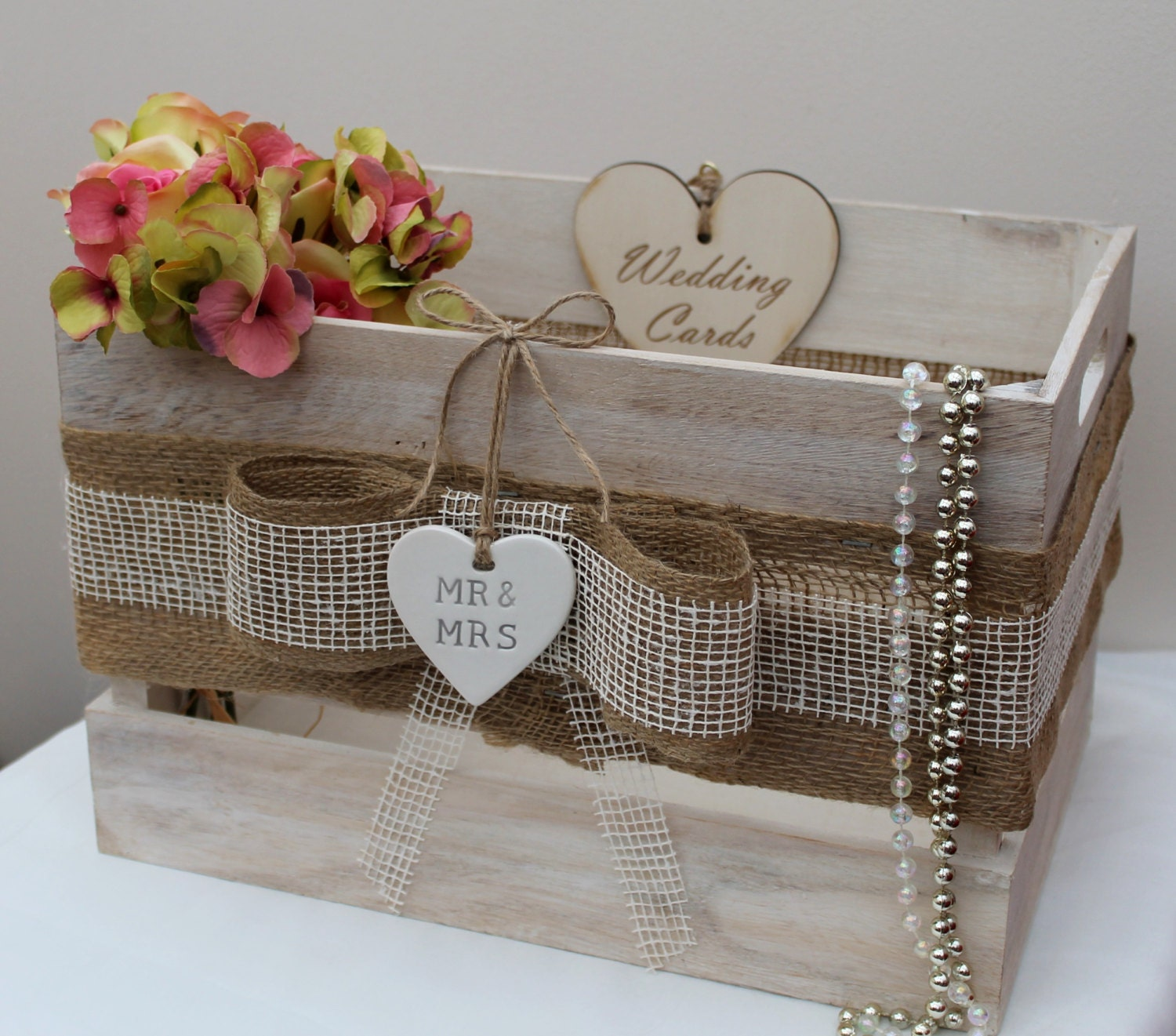 Wedding Reception Gift Card Post Box : Vintage Country Style Wooden MR & MRS Wedding Crate Wedding