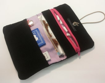 practical tobacco pouch - black exterior cord, inside pink cotton fabric