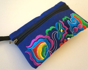Dark Blue Embroidered Wristlet